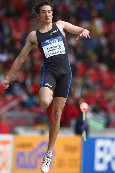 Fabrice Lapierre of Australia takes a surprise victory in the long jump (Getty Images)