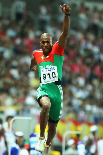 Nelson Evora of Portugal competes on his way to winning the Men's Triple Jump Final (Getty Images)