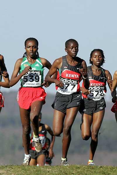 Tirunesh Dibaba contests the short race with Kenya's Priscah Jepleting (577) and Lucy Wangui (578) (Getty Images)