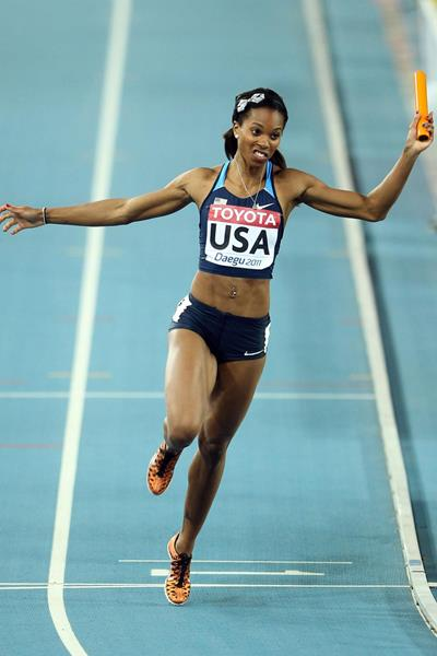 Alexandria Anderson anchors the US 4x100m team (Getty Images)