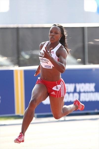 Veronica Campbell Brown on the way to her 21.98 victory in New York (Victah Sailer)