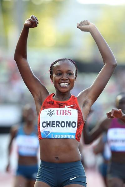 Mercy Cherono at the 2014 IAAF Diamond League meeting in Lausanne (Giancarlo Colombo)