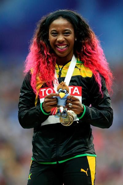 Shelly-Ann Fraser-Pryce in the womens 100m Medal Ceremony at the IAAF World Athletics Championships Moscow 2013 (Getty Images)