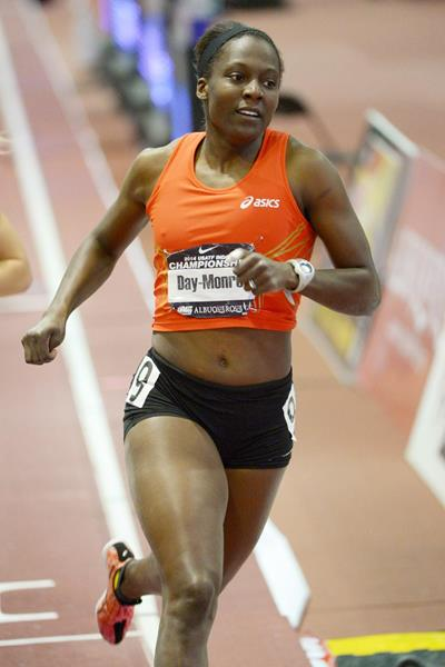Sharon Day-Monroe in the final event of the pentathlon at the 2014 US Indoor Championships (Kirby Lee)