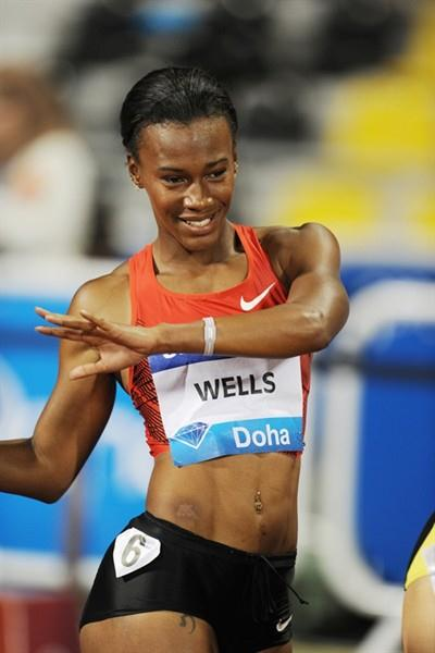 Kellie Wells after her impressive come from behind victory in Doha (Jiro Mochizuki)