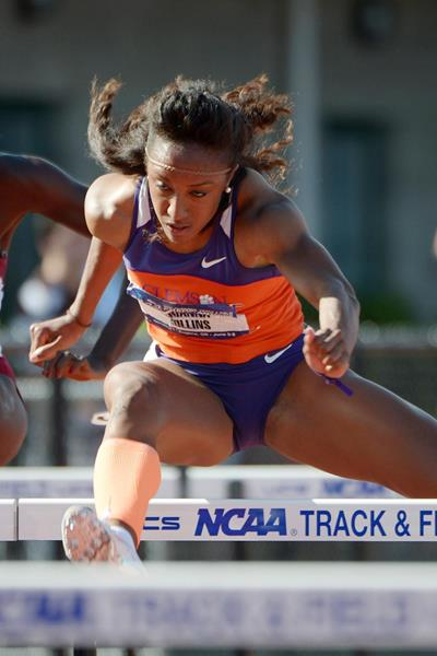 Brianna Rollins on her way to a 12.39 victory at the 2013 NCAA Championships (Kirby Lee)