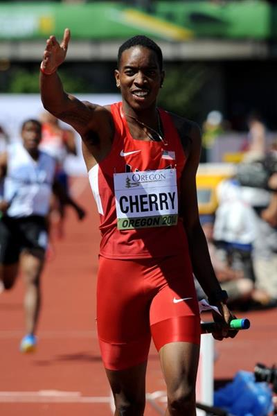 Michael Cherry of the USA in the 4x400m at the IAAF World Junior Championships, Oregon 2014 (Getty Images)