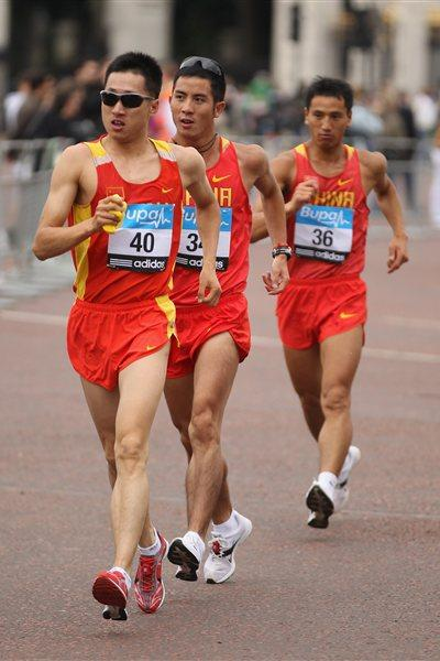 Wang Zhen, Li Jianbo and Niu Wenbin of China in action during the LOCOG 2012 Test Event for the London 2012 Olympic Race Walk on 30 May 2011  (Getty Images)