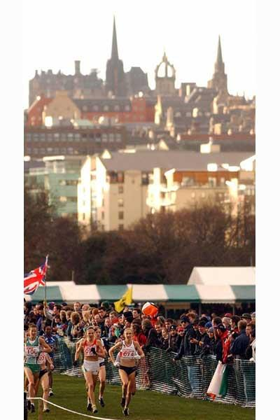 The city of Edinburgh provides a spectacular backdrop for the course at the 2003 European XC Champs which were held in Holyrood Park, Edinburgh (AFP / Getty Images)