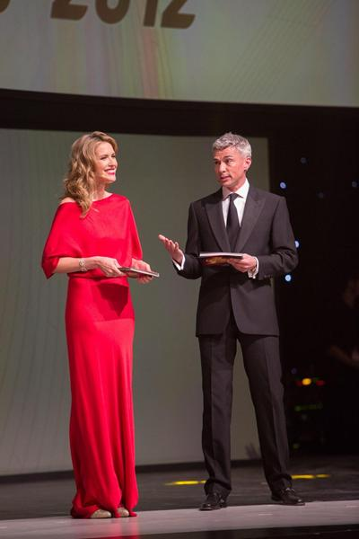 IAAF Centenary Gala in Barcelona, presenters World Triple Jump record holder Jonathan Edwards and Catalan model and actress Judit Masco (Philippe Fitte)