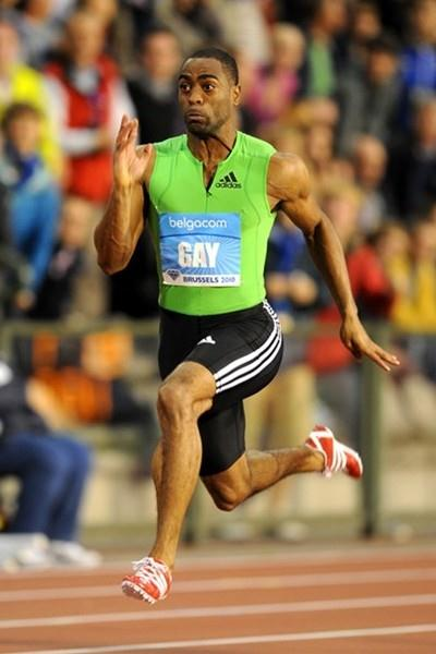 Tyson Gay en route to his 9.79 victory in Brussels (Jiro Mochizuki)