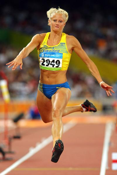 Carolina Kluft in the triple jump qualifying (Getty Images)
