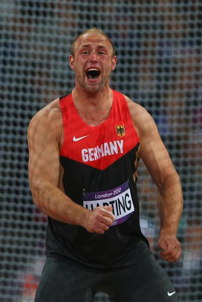 Robert Harting of Germany celebrates winning gold in the Men's Discus Throw Final on Day 11 of the London 2012 Olympic Games at Olympic Stadium on August 7, 2012 (Getty Images)