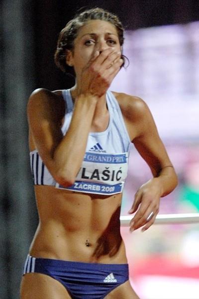 Believe it! Blanka Vlasic after her 2.08m leap in Zagreb (Zagreb organisers)