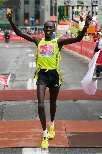 All smiles: Kenneth Mungara after his 2:08:31 Canadian All-comers record in Toronto in 2009 (organisers)