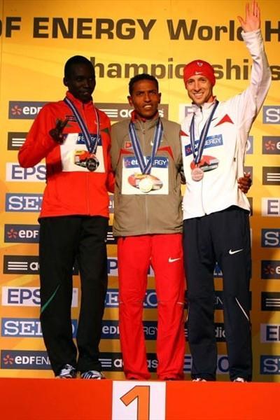 The men's medallists in the IAAF/EDF Energy World Half Marathon Championships in Birmingham (Getty Images)