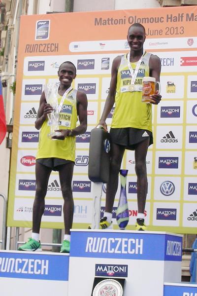 Henry Kiplagat on top of the podium at the Mattoni Half Marathon in Olomouc (Organisers)