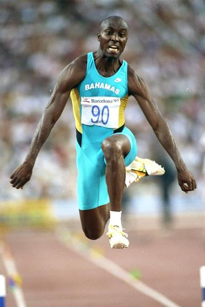 Bahamian triple jumper Frank Rutherford in action at the 1992 Olympic Games in Barcelona (Getty Images)