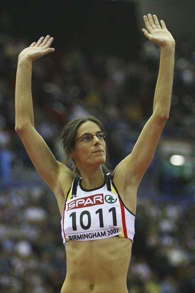 Tia Hellebaut celebrates her dominating victory in Birmingham (Getty Images)