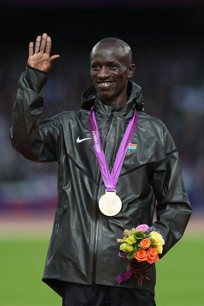 Gold medalist Ezekiel Kemboi of Kenya poses during the medal ceremony for the Men's 3000m Steeplechase final on Day 10 of the London 2012 Olympic Games on 6 August 2012 (Getty Images)