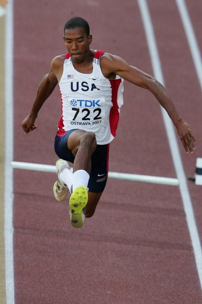 Christian Taylor of USA on his way to gold in the Triple Jump final (Getty Images)