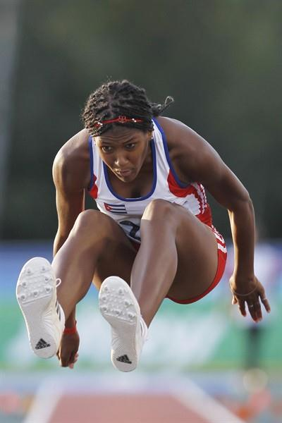 Cuba's Irisdaymi Herrera sets a PB in the Long Jump final to take gold (Getty Images)