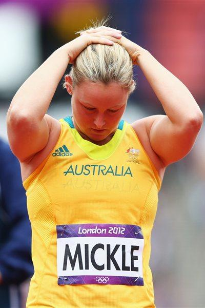 Kimberley Mickle of Australia is disappointed after the Women's Javelin Throw Qualification on Day 11 of the London 2012 Olympic Games  on August 7, 2012 (Getty Images)