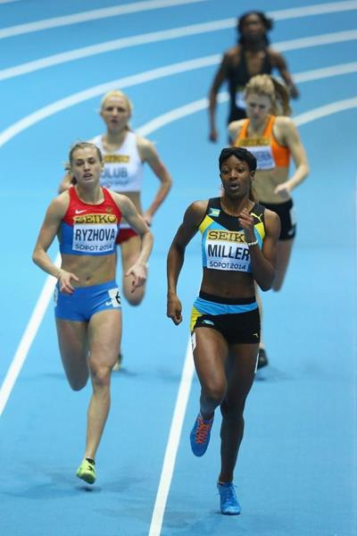 Shaunae Miller in action in her 400m heat at the 2014 IAAF World Indoor Championships in Sopot (Getty Images)