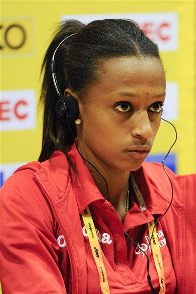 Ana Peleteiro of Spain addresses the media during the IAAF  press conference before the start of the 14th IAAF World Junior Championships at Estadi Olimpic Lluis Companys on July 9, 2012 in Barcelona, Spain. (Getty Images)