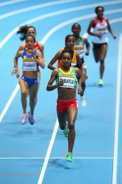 Genzebe Dibaba in the women's 3000m heat at the 2014 IAAF World Indoor Championships in Sopot (Getty Images)