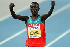 Ezekiel Kemboi of Kenya celebrates claiming gold in the men's 3000 metres steeplechase final during day six  (Getty Images)