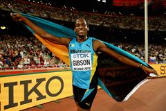 Jeffery Gibson celebrates at the Beijing World Championships ()