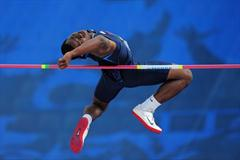 Bronze medal winner Justin FONDREN of USA in action during the Boys High Jump final - Day Four - WYC Lille 2011 (Getty Images)