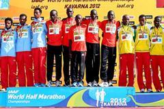 Men's team podium in Kavarna: silver medallists Eritrea, winners Kenya, and bronze medallists Ethiopia (Getty Images)