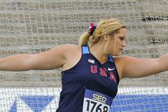 Shelbi Vaughan of United States competes for winning the bronze medal on the Women's Discus Throw FInal on day six of the 14th IAAF World Junior Championships in Barcelona 2012 (Getty Images)