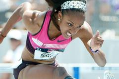 Brianna Rollins on her way to a 12.26 American record at the 2013 US Championships (Kirby Lee)