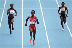 Kelly-Ann Baptiste of Trinidad and Tobago an easy winner in the 100m heats (Getty Images)
