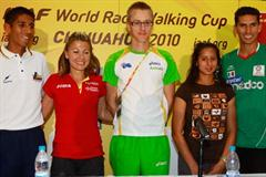 From left to right: Luis Lopez of Colombia, Maria Vasco of Spain, Jared Tallent of Australia, Sandra Navaraz of Mexico and Horacio Nava of Mexico (Getty Images)