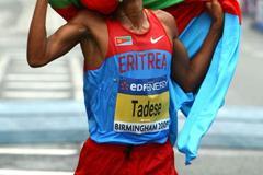 Zersenay Tadese of Eritrea in Birmingham (Getty Images)