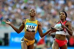 Sherone Simpson anchors Jamaica to 4x100 gold - Melbourne 2006 (Getty Images)