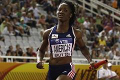 Kelly-Ann Baptiste anchors Team America to the 4x100m Relay IAAF / VTB Bank Continental Cup title in Split (Getty Images)