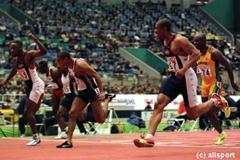 The finish of the men's 60m final (© Allsport)