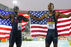 Aaron Ernest (R) and Tyreek Hill of United States celebrate after being second and third on the Men's 200 metres Final on the day four of the 14th IAAF World Junior Championships in Barcelona on 13 July 2012 (Getty Images)