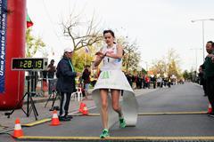 Elena Lashmanova stops the clock in Rio Maior to win the women's 20km race walk (Rui Correia/Samuel Valerio)