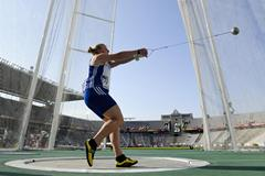 Alexandra Tavernier of France competes on the Women's Hammer Throw Final on the day five of the 14th IAAF World Junior Championships in Barcelona on 14 July 2012 (Getty Images)