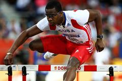Dayron Robles of Cuba competes in the Men's 60m Hurdles semi-final (Getty Images)
