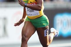 Shelly-Ann Fraser of Jamaica competes in the women's 100m semi-final at the IAAF World Championships in Athletics (Getty Images)