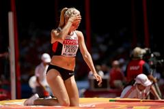 Brianne Theisen Eaton in the heptathlon high jump at the IAAF World Championships, Beijing 2015 (Getty Images)