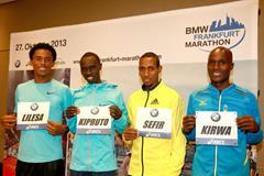 Feyisa Lilesa, Vincent Kipruto, Dino Sefir and Gilbert Kirwa ahead of the 2013 BMW Frankfurt Marathon (Photorun / organisers)