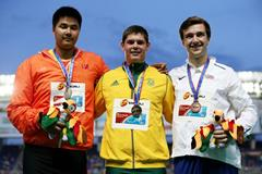 Boys' discus throw podium IAAF World Youth Championships, Cali 2015  (Getty Images)